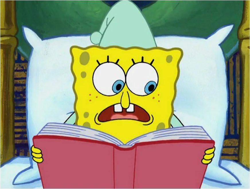 Губка Боб читает книгу